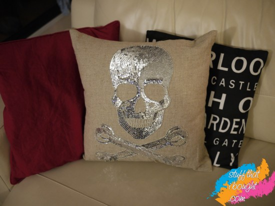 Domayne silver sequin skull cushion