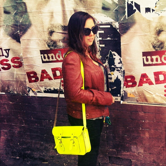 Fluoro yellow Cambridge Satchel bag