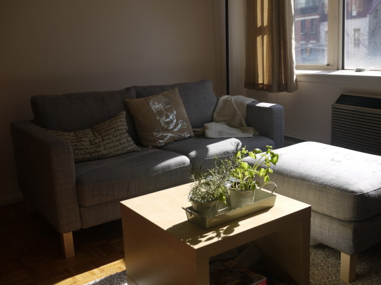 Ikea Karlstad couch and ottoman, Lack side table