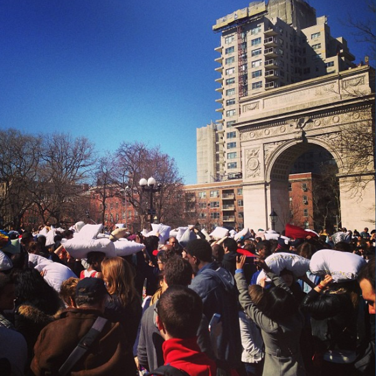 International Pillow Fight Day in Washington Square Park - always something happening in the hood